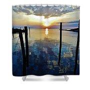 Avon Harbor Sunset Reflections 7/26 Shower Curtain