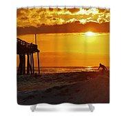 Avon Pier Sunrise Surfer 2 9/08 Shower Curtain