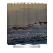 Avon Pier High Surf 3 3/11 Shower Curtain