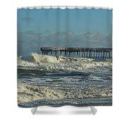 Avon Pier Ocean Pounding 3 2/08 Shower Curtain