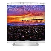 Avon Pier Shells Sunrise Shower Curtain