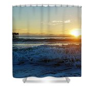 Avon Pier Sunrise 6 10/17 Shower Curtain