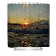 Avon Pier Sunrise Morning Sunbeams 7/26 Shower Curtain