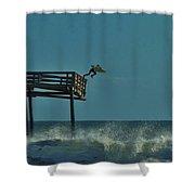 Avon Pier Surfers Leap 1 1/19 Shower Curtain