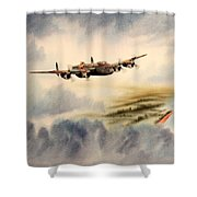 Avro Lancaster Over England Shower Curtain