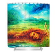 Awakening Blue Shower Curtain