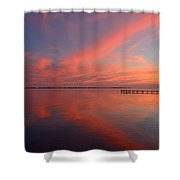 Awesome Fiery Red Clouds At Dusk Reflected On Dead Calm Santa Rosa Sound Shower Curtain