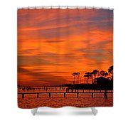 Awesome Fiery Sunset On Sound With Cirrus Clouds And Pines Shower Curtain
