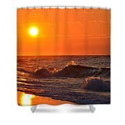 Awesome Red Sunrise Colors On Navarre Beach With Shore Waves Shower Curtain