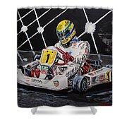 Ayrton Senna Karting Shower Curtain