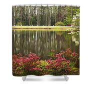 Azaleas And Reflection Pond Shower Curtain