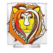 Golden Aztec Lion Shower Curtain