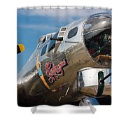 B-17 Flying Fortress Shower Curtain by Adam Romanowicz