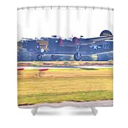 B-24 Landing Shower Curtain
