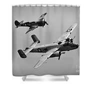 B-25 And Escort Bw Shower Curtain