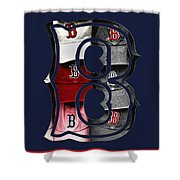 B For Bosox - Boston Red Sox Shower Curtain by Joann Vitali