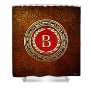 B - Gold Vintage Monogram On Brown Leather Shower Curtain