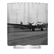 B17 Bomber Parked Shower Curtain