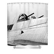 B17 Bomber Top Turret Guns Shower Curtain