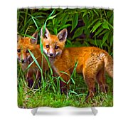 Babes In The Woods Oil Shower Curtain