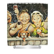 Babes N' Bitchies Shower Curtain by Shelly Wilkerson