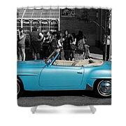 Baby Blue Benz Shower Curtain