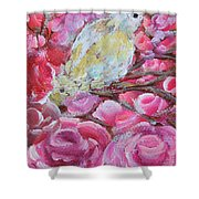 Baby Dove Of Peace Pink Flowers Shower Curtain