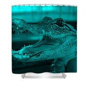 Baby Gator Turquoise Shower Curtain