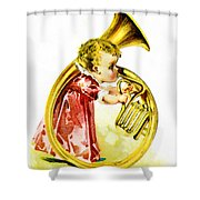 Baby Girl With A French Horn Shower Curtain