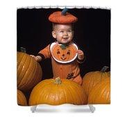Baby In Pumpkin Costume Shower Curtain