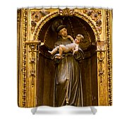 Baby Jesus And A Monk Sculpture Shower Curtain