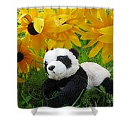 Baby Panda Under The Golden Sky Shower Curtain