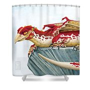 Baby Scarlet Spotted Dragon Shower Curtain