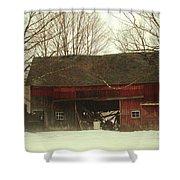 Back Road Barn Shower Curtain