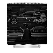 Back To The Future Delorean Blueprint 1 Shower Curtain