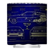 Back To The Future Delorean Blueprint 2 Shower Curtain
