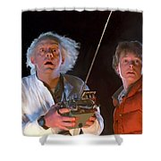 Back To The Future Shower Curtain by Paul Tagliamonte