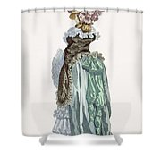 Back View Of A Promenade Gown, Engraved Shower Curtain