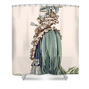 Back View Of Ladys Dress, Engraved Shower Curtain