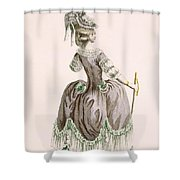 Back View Of Ladys Grey Promenade Shower Curtain