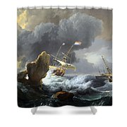 Backhuysen's Ships In Distress Off A Rocky Coast Shower Curtain