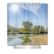 Backlighting River Landscape Shower Curtain