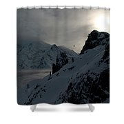 Backlit Skilift In Beautiful Landscape Shower Curtain