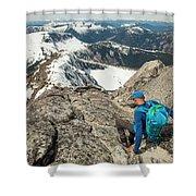 Backpacker Descending Needle Peak Shower Curtain