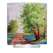 Backroad Bluebonnets Shower Curtain