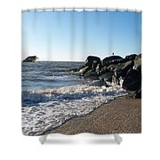 Backwash On Sunset Beach Cape May Shower Curtain