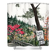 Backwoods Bridge Shower Curtain