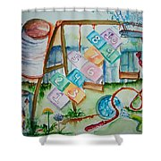 Backyard Play Simple Times Shower Curtain