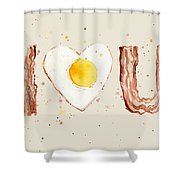 Bacon And Egg I Heart You Watercolor Shower Curtain