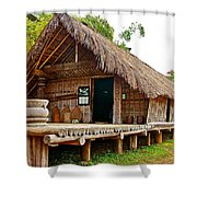 Bahnar Home With Extension As Family Grows At Museum Of Ethnology In Hanoi-vietnam  Shower Curtain